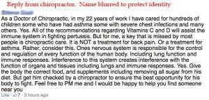 "Reply from ""helpful"" chiropractor"