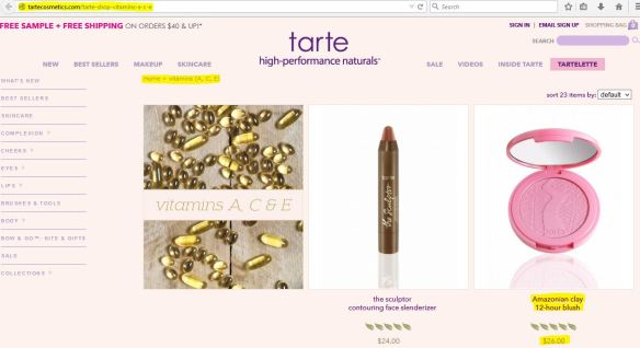 tarte blush contains vitamin A