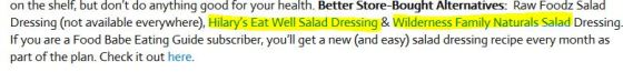 Food Babe recommended salad dressings with affiliate links