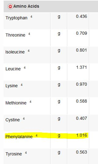 chia seeds amino acids phyenylalanine
